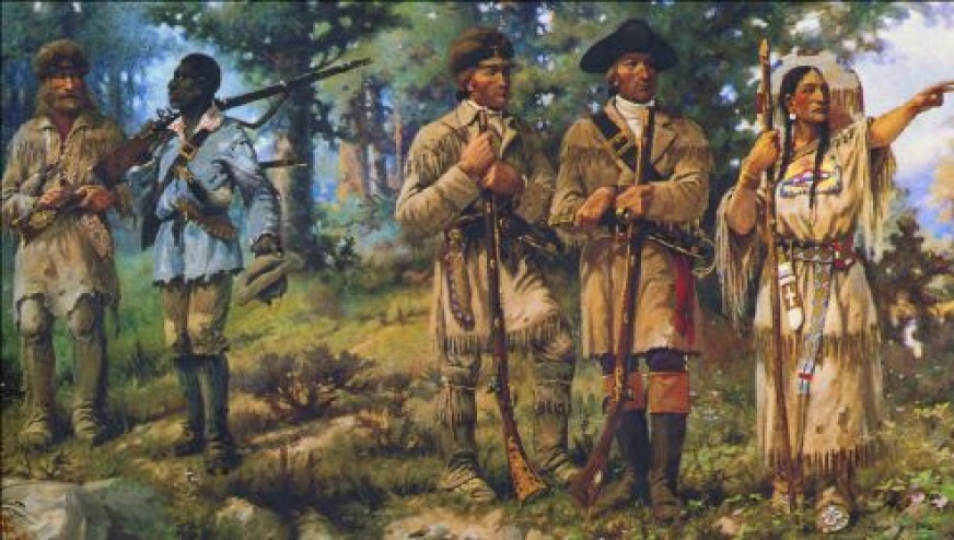 Color picture of painting of Louis and Clark Explorers