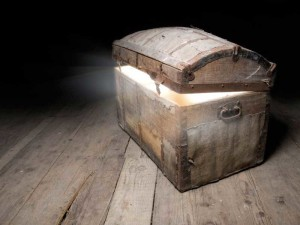 Picture of wooden treasure chest on wood floor